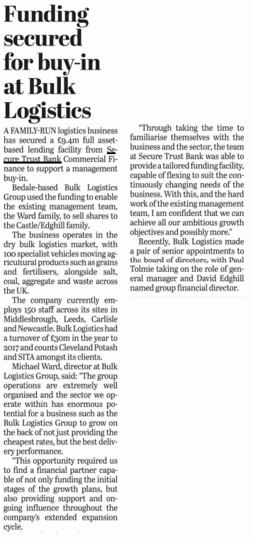 The Business Desk Multi Million Pound Bank Funding Deal Supports Management In At 30m Logistics Firm
